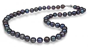 Náhrdelník s pravými kovově modrými perlami JL0265
