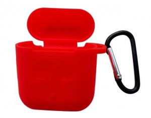 Pouzdro pro AirPods typ 1, barva červená s karabinou