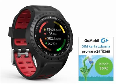 Hodinky GPS EVOLVEO SportWatch M1S HR Red (GPS,SIM) + SIMkarta GoMobil