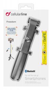Selfie tyč Cellularline Freedom s funkcí tripodu, černá