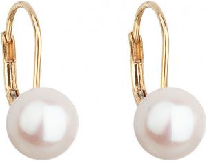 Zlaté visací náušnice s pravými perlami Pavona 921009.1