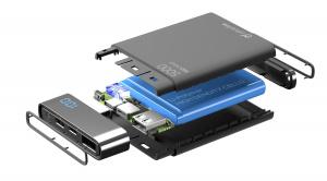 Kompaktní powerbanka Cellularline FreePower Manta HD, 5000 mAh, Lightning + USB-C port, MFI certifikace, černá