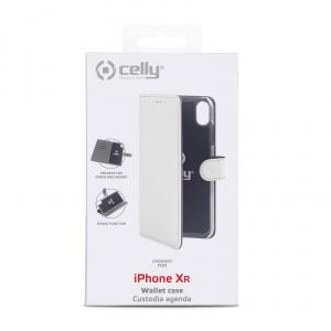 Pouzdro typu kniha CELLY Wally pro Apple iPhone XR, PU kůže, bílé