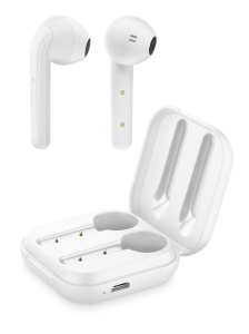 True wireless sluchátka Cellularline Java s dobíjecím pouzdrem, bílá
