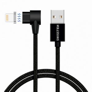 MAGNETICKÝ TEXTILNÍ DATOVÝ KABEL SWISSTEN ARCADE USB / LIGHTNING 1,2 M ČERNÝ