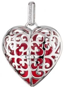 Stříbrný přívěsek Andělský zvonek srdce s červenou rolničkou ERP-05-HEART