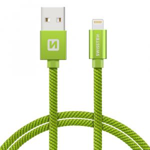 DATOVÝ KABEL SWISSTEN TEXTILE USB / LIGHTNING 0,2 M ZELENÝ