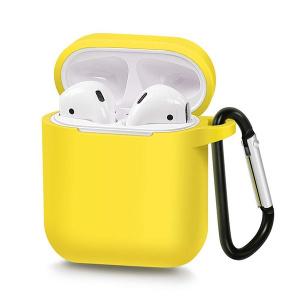 Pouzdro pro AirPods typ 1, barva žlutá s karabinou