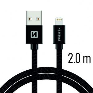 DATOVÝ KABEL SWISSTEN TEXTILE USB / LIGHTNING 2,0 M ČERNÝ