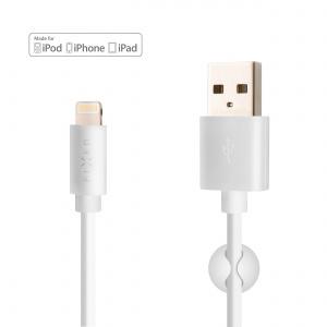 Dlouhý datový a nabíjecí kabel FIXED s konektorem Lightning, 2 metry, MFI certifikace, 2,4A, bílý