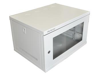 """19"""" Kovový rozvaděč montážní skříň se skleněnými dvířky 6U 540*400*320 RAL7035"""