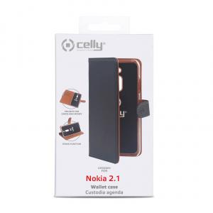Pouzdro typu kniha CELLY Wally pro Nokia 2.1, PU kůže, černé