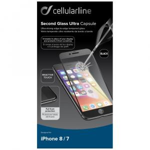Ochranné tvrzené sklo pro celý displej Cellularline CAPSULE pro Apple iPhone 7/8, černé
