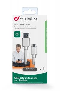 USB datový kabel CellularLine s konektorem USB-C, 2m, bílý