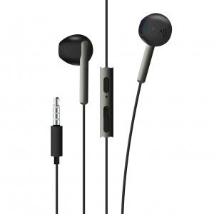 Pecková sluchátka FIXED EGG4 s mikrofonem a ovladačem hlasitosti, voděodolnost IPX3, černostříbrná