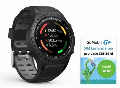 Hodinky GPS EVOLVEO SportWatch M1S HR Black (GPS,SIM) + SIMkarta GoMobil