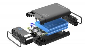Kompaktní powerbanka Cellularline FreePower Manta HD 10000mAh, Smartphone Detect, USB-C + 2xUSB port, černá