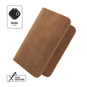 Kožená peněženka FIXED Smile Wallet XL se smart trackerem FIXED Smile Motion, hnědá