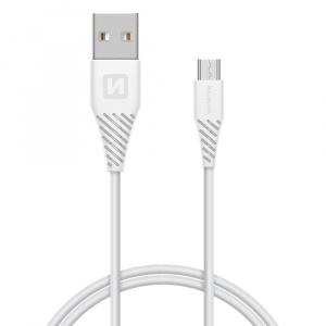 DATOVÝ KABEL SWISSTEN USB / MICRO USB 1,5 M BÍLÝ (6,5mm)