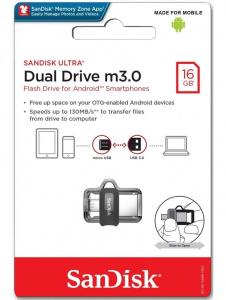 USB Flash Disk (PenDrive) SANDISK ULTRA DUAL DRIVE 16GB USB 3.0 130MB/s - micro USB