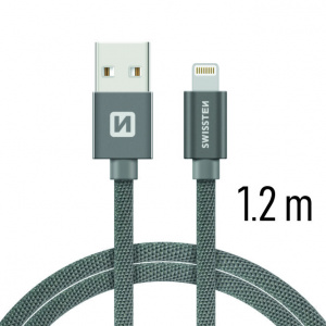 DATOVÝ KABEL SWISSTEN TEXTILE USB / LIGHTNING 1,2 M ŠEDÝ