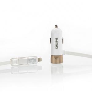 CL adaptér REMAX RCC-102 2in1 + 1xUSB 3,4A barva bílá/zlatá