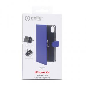 Pouzdro typu kniha CELLY Wally pro Apple iPhone XR, PU kůže, modré