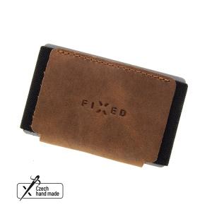 Kožená peněženka FIXED Tiny Wallet z pravé hovězí kůže, hnědá