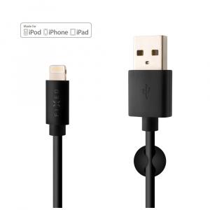 Datový a nabíjecí kabel FIXED s konektorem Lightning, MFI certifikace, 2,4A, černý