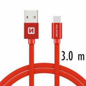 DATOVÝ KABEL SWISSTEN TEXTILE USB / USB-C 3,0 M ČERVENÝ