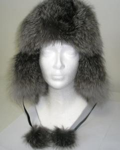 Kožešinová čepice ušanka stříbrná liška MAKSIMA vel.56