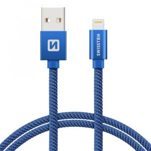 DATOVÝ KABEL SWISSTEN TEXTILE USB / LIGHTNING 0,2 M MODRÝ