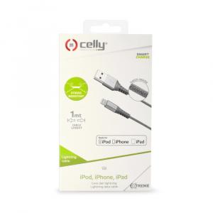 Datový USB kabel CELLY s Lightning konektorem, nylonový obal, 1 m, stříbrný