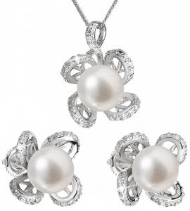 Luxusní stříbrná souprava s pravými perlami Pavona 29016.1 (náušnice, řetízek, přívěsek)