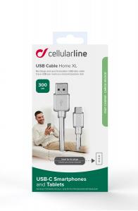 Prodloužený USB datový kabel Cellularline s USB-C konektorem, 3m, bílý