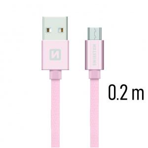 DATOVÝ KABEL SWISSTEN TEXTILE USB / MICRO USB 0,2 M RŮŽOVO/ZLATÝ
