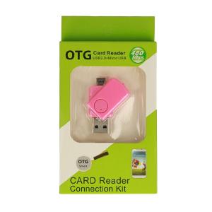 Čtečka microSD - výstup USB + micro USB barva růžová