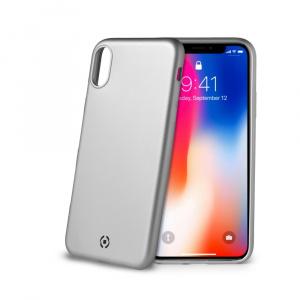 TPU pouzdro CELLY Softmatt pro Apple iPhone X/XS, matné provedení, stříbrné