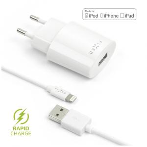 Síťová nabíječka FIXED s odnímatelným Lightning kabelem, MFI certifikace, 2,4A, bílá
