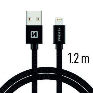 DATOVÝ KABEL SWISSTEN TEXTILE USB / LIGHTNING 1,2 M ČERNÝ