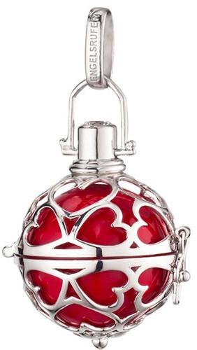 Stříbrný přívěsek Andělský zvonek srdce s červenou rolničkou ER-05-HEARTS-M