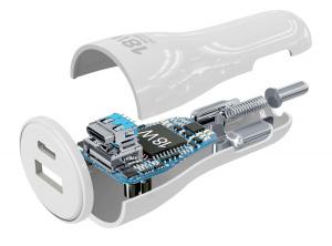 Set autonabíječky Cellularline s USB-C konektorem a Lightning kabelu, Power Delivery (PD), 30 W, MFI certifikace, bílý