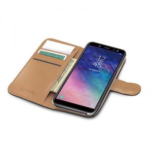 Pouzdro typu kniha CELLY Wally pro Samsung Galaxy A6+ (2018), PU kůže, černé