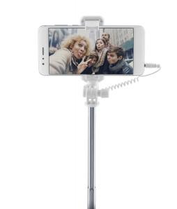 Teleskopická selfie tyč CellularLine Total View s otočným zrcátkem, modrá