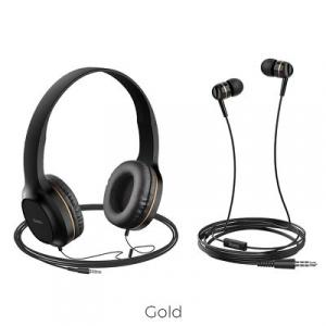Sluchátka + HandsFree HOCO W24 barva černá/zlatá