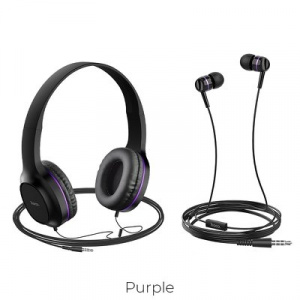 Sluchátka + HandsFree HOCO W24 barva černá/fialová