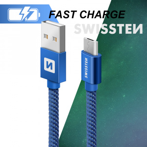 DATOVÝ KABEL SWISSTEN TEXTILE USB / MICRO USB 0,2 M MODRÝ