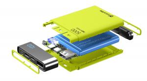 Kompaktní powerbanka Cellularline FreePower Manta HD, 5000 mAh, USB-C + USB port, rychlé nabíjení, zelená