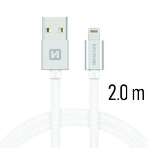 DATOVÝ KABEL SWISSTEN TEXTILE USB / LIGHTNING 2,0 M STŘÍBRNÝ