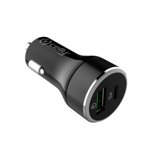 Autonabíječka CELLY s USB-C (PD) a USB Qualcomm 3.0 portem, 30W max, černá